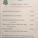 The Pines Tap and Table Lunch Special August 26 - August 30 2019