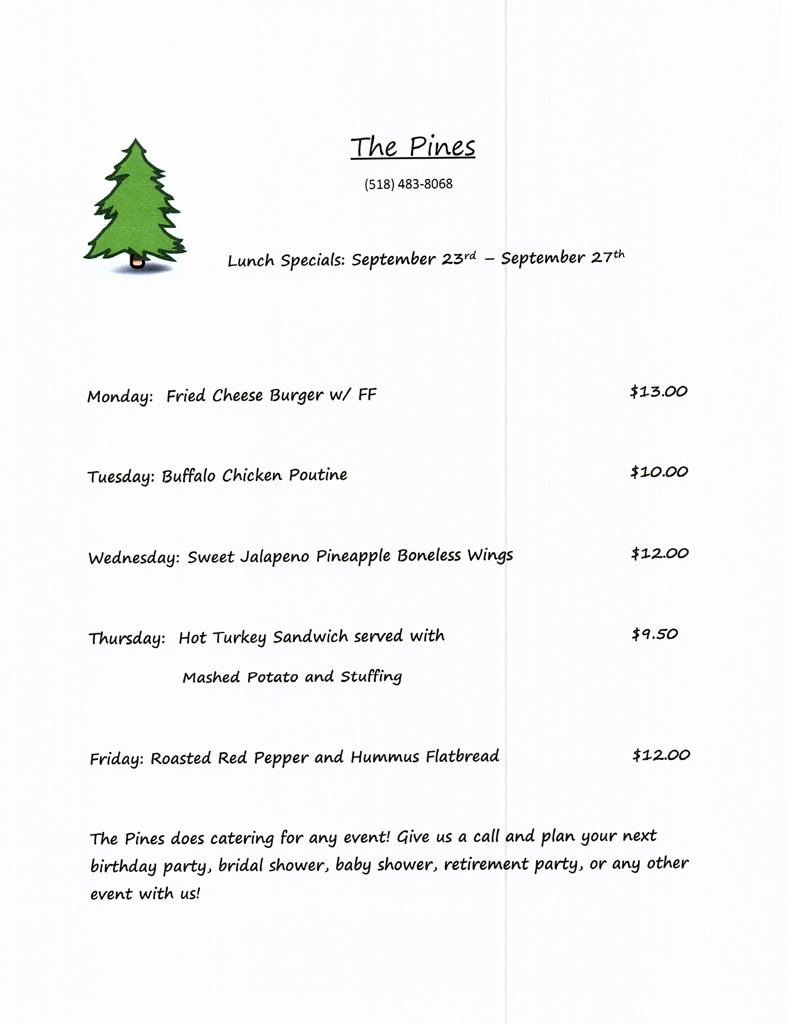 The Pines Tap and Table Lunch Specials Sept 23-27