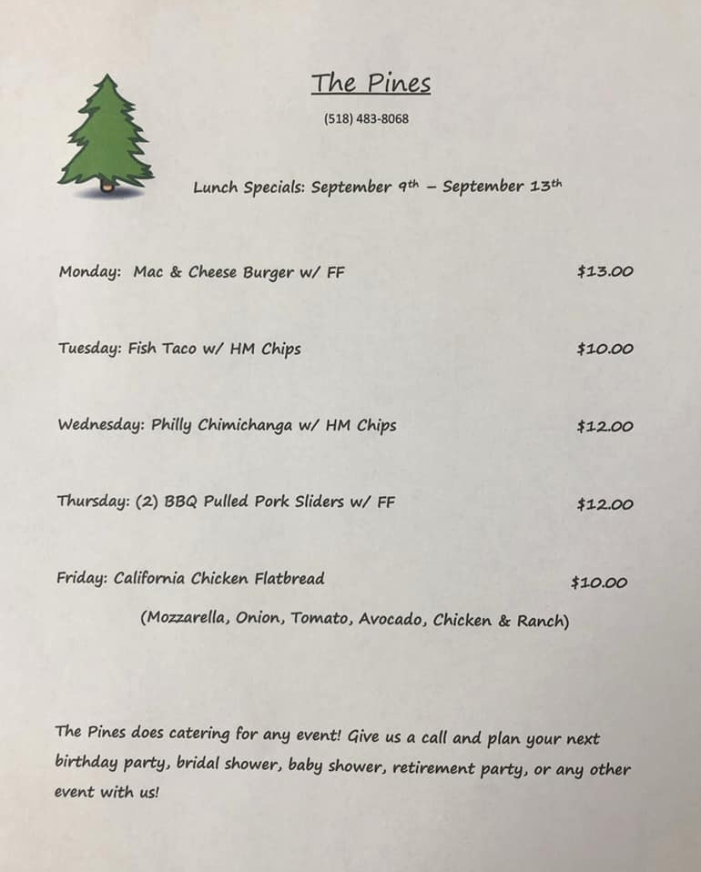 The Pines Tap and Table Lunch Specials Sept 9-13