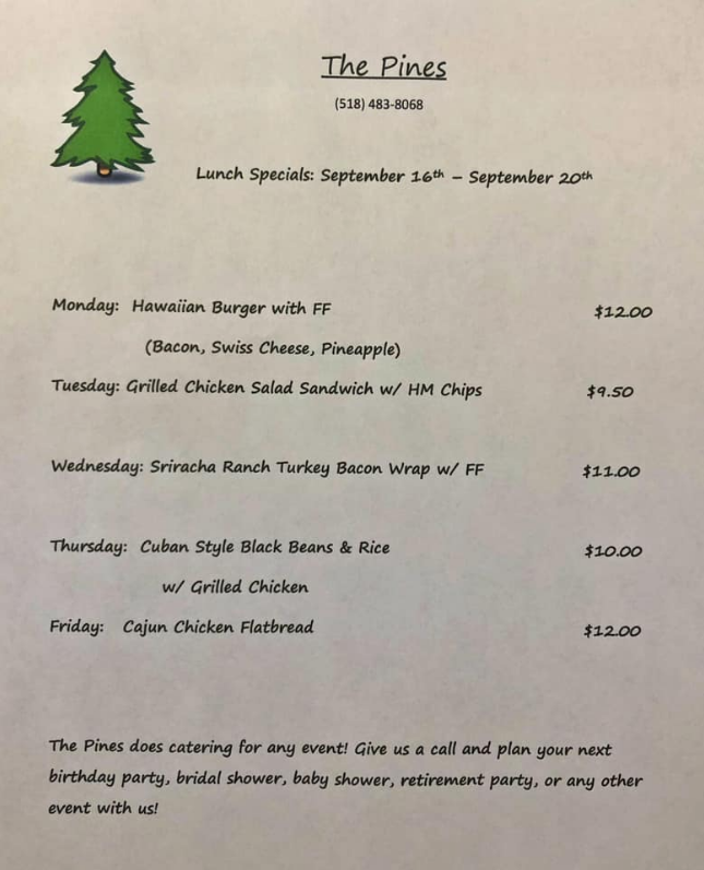The Pines Tap and Table Lunch Specials Sept. 16-20