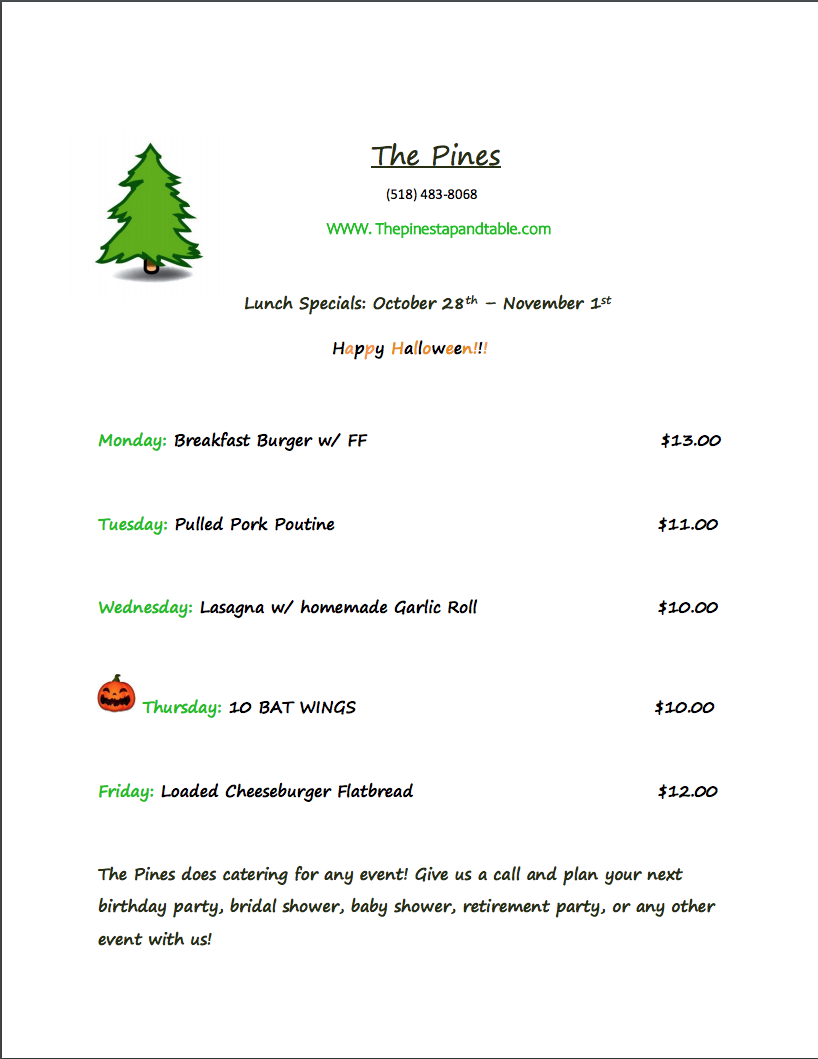 The Pines Tap and Table Lunch Special Oct. 28 -Nov 1 2019