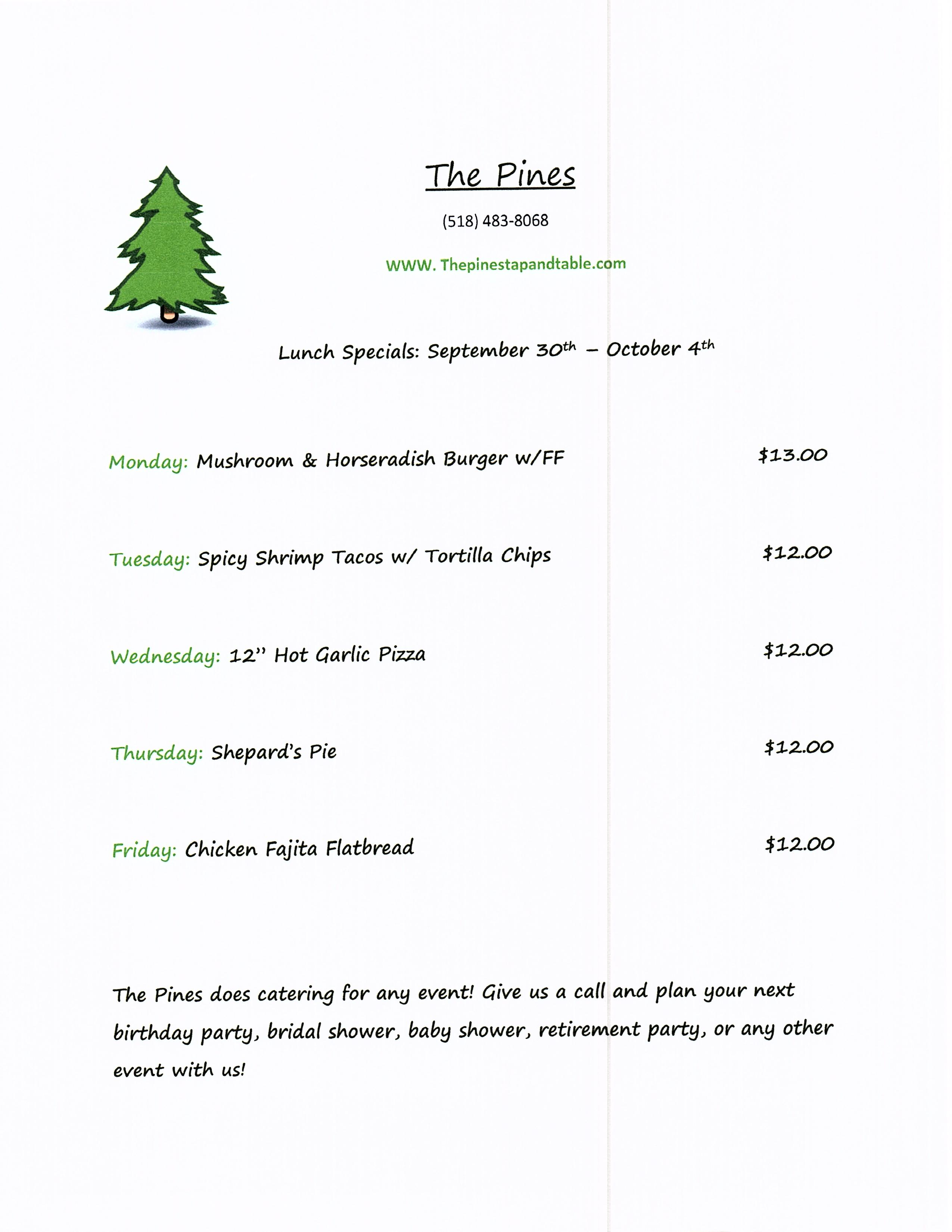 The Pines Tap and Table Lunch Specials Sept 30- Oct 4