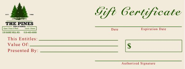 The Pines Tab and Table Gift Certificates
