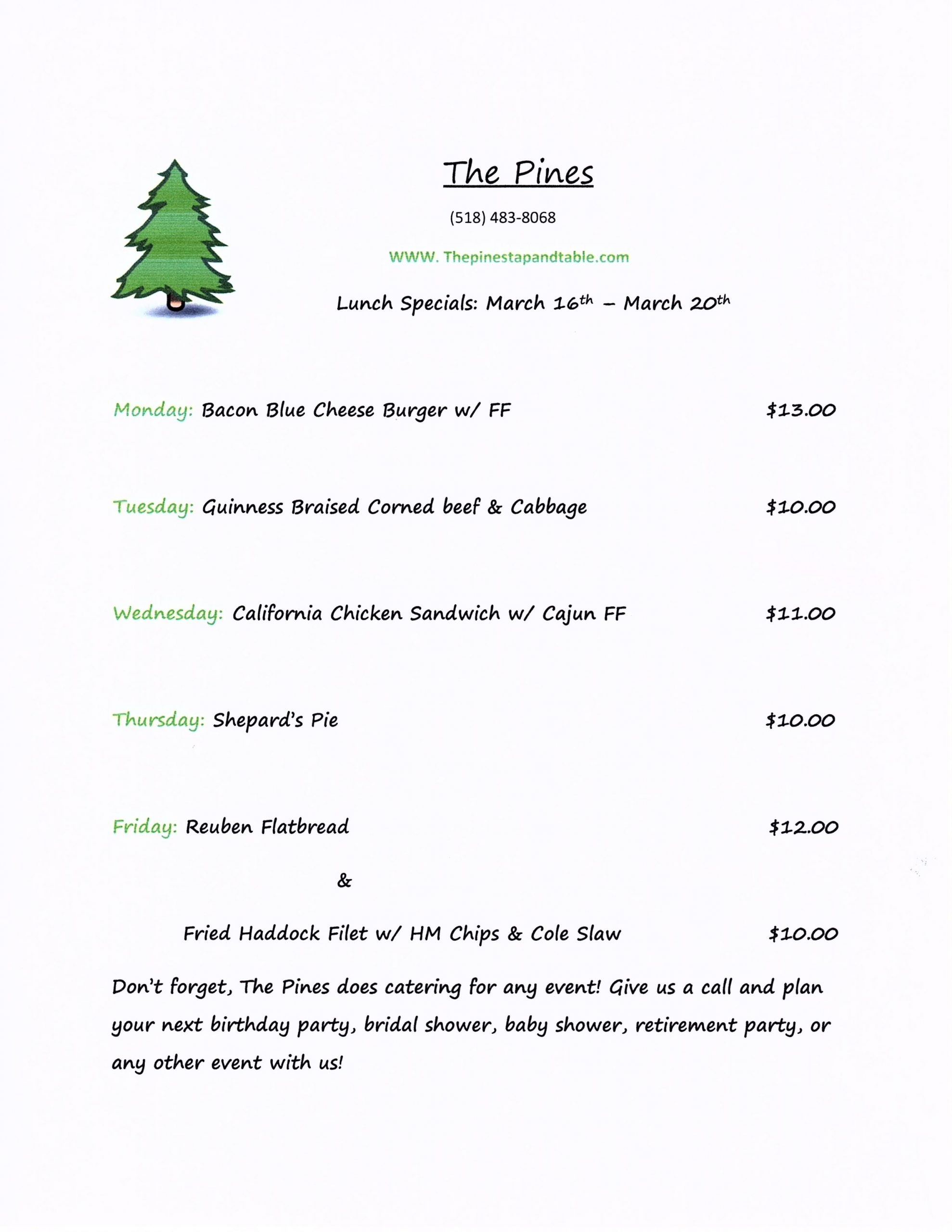 The Pines Tap and Table Lunch Specials 3/16