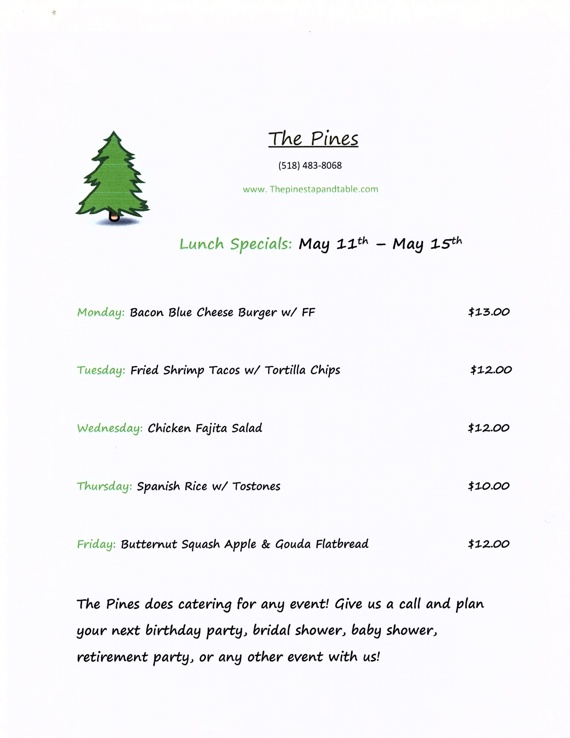 The Pine Tap and Table Lunch Specials