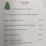 The Pines Tap and Table Lunch Special July 29- Aug 2