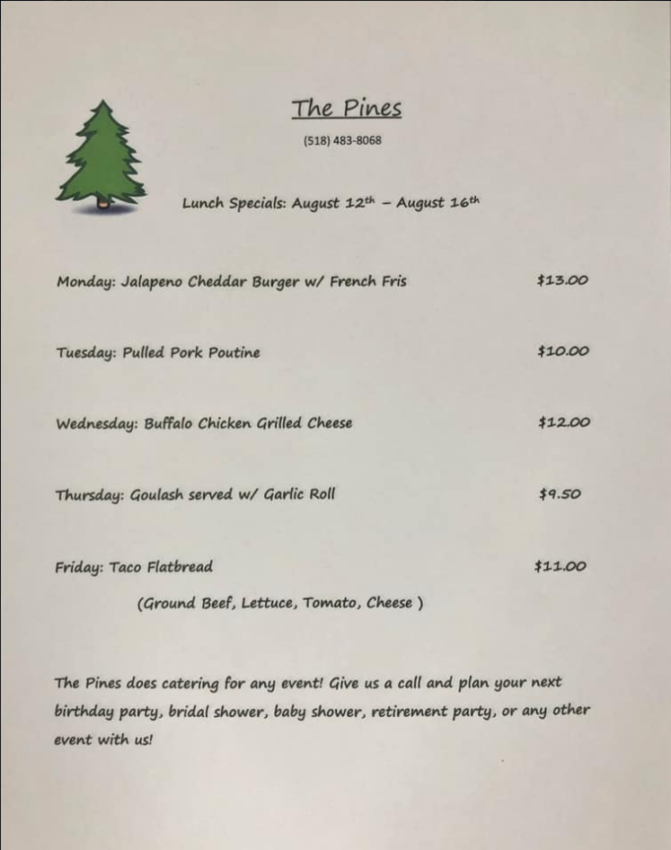 The Pines Tap and Table Lunch Special Aug 12-16