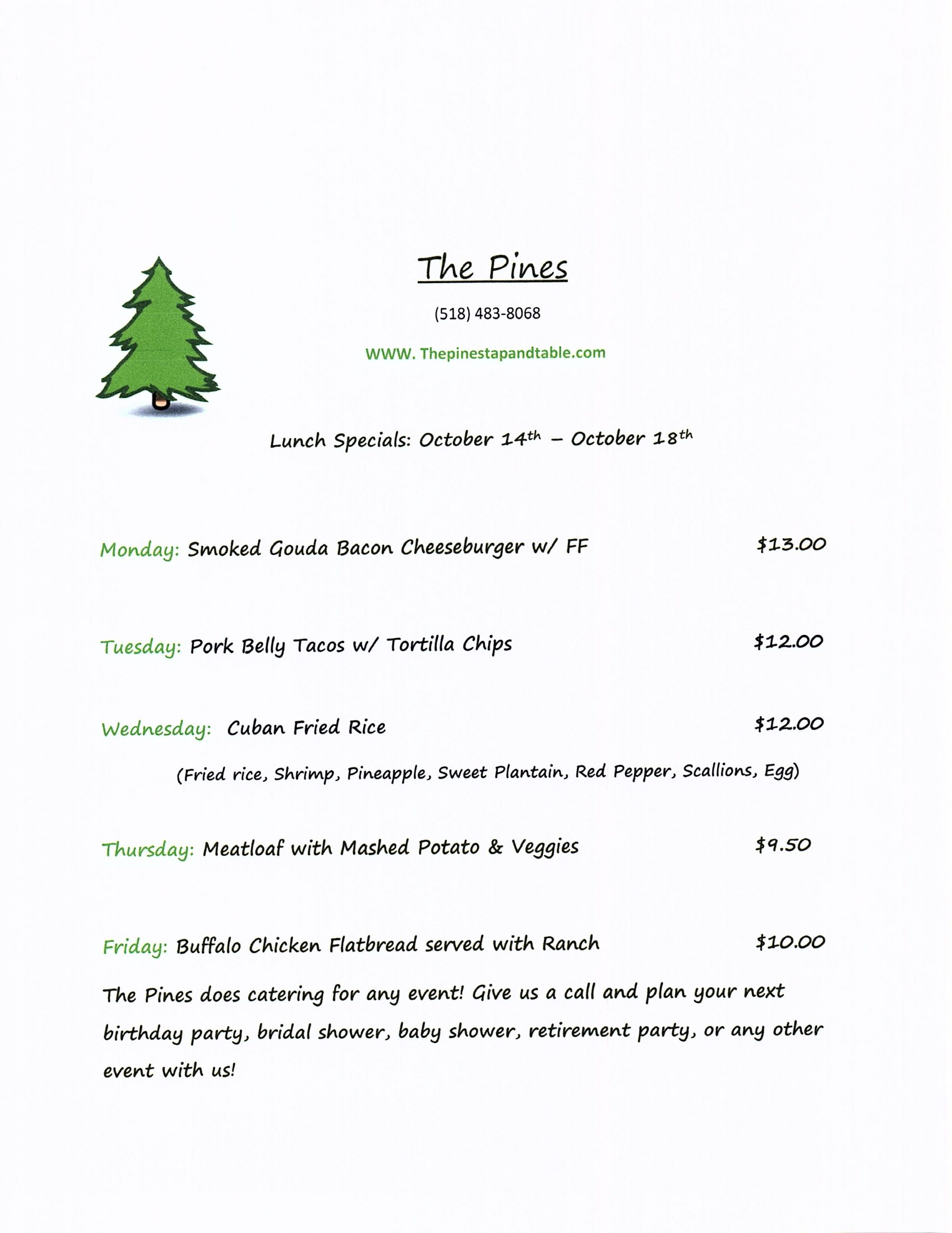 The Pines Lunch Special Oct 21