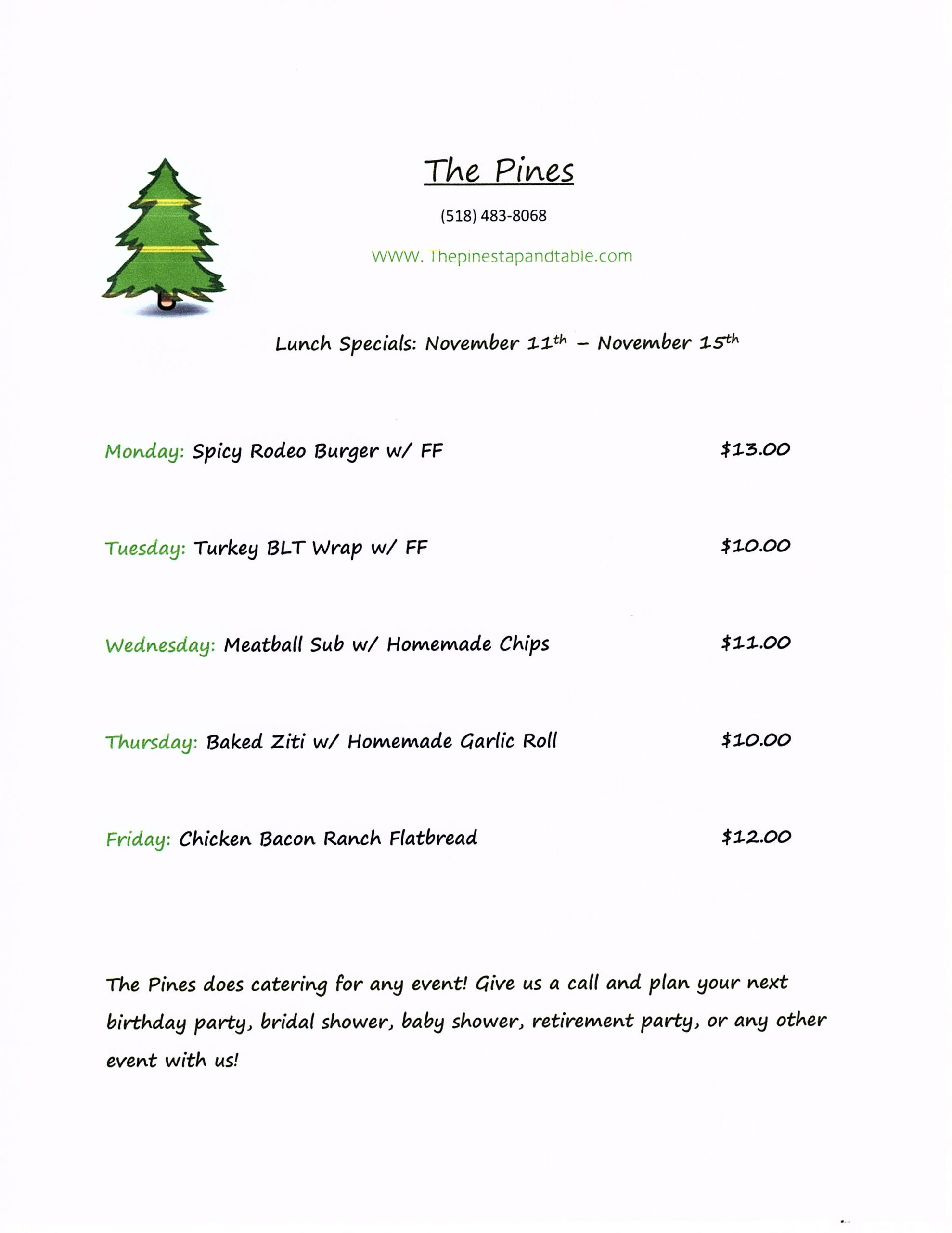 The Pines Tap and Table Lunch Specials 11/11